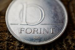一匈牙利福林HUF作为货币的标志在匈牙利 免版税库存照片