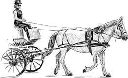 一匹被利用的马的剪影 免版税库存照片