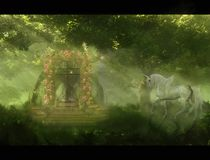 一匹马和一个门的抽象艺术性的3d例证在一件独特的天堂庭院艺术品 皇族释放例证