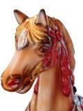 一匹马的头在旋转木马的 库存照片