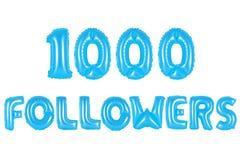 一千个追随者,蓝色颜色 免版税库存图片
