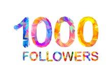 1000一千个追随者 库存图片