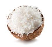 一半与在白色backgr隔绝的椰子剥落的椰子 库存照片