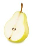 一半与被隔绝的叶子的成熟黄色梨 库存图片