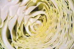 一半切了与波浪叶子的新鲜的未加工的圆白菜,水平的图片 库存图片