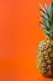 一半在右边的菠萝在橙色背景,垂直的射击 库存照片