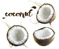 一半在白色背景的椰子 库存照片