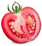 一半在白色背景的蕃茄 库存图片