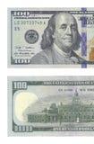 一半新的一百元钞票 库存照片