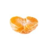 一半新鲜的水多的蜜桔果子被隔绝在白色背景 库存照片
