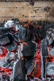 一半烧了煤炭关闭  库存照片