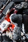 一半烧了煤炭关闭  免版税库存图片