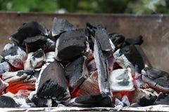 一半烧了煤炭关闭  库存图片