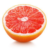 一半粉红色葡萄柚在白色隔绝的柑桔 库存照片