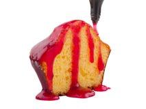 一半香草杯形蛋糕用在白色背景隔绝的红色果酱 免版税库存照片