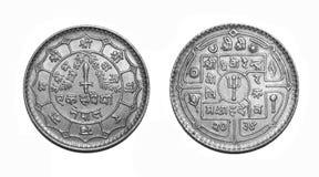 一卢比尼泊尔货币硬币 免版税图库摄影