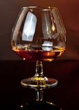 一口威士忌酒在典雅的典型的科涅克白兰地玻璃的白兰地酒在黑暗的背景 库存图片