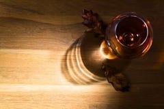 一口威士忌酒白兰地酒和干橡木叶子 库存图片