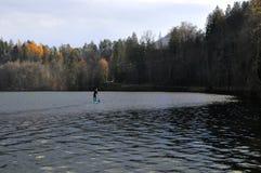 一口,站立桨,在布莱德湖,斯洛文尼亚,欧洲 在湖的人划船在秋天 图库摄影