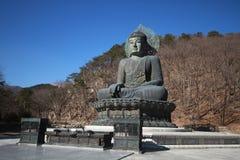 一古老金属雕刻坐的和平菩萨在树山前面和绘与绿色在大历史 库存照片