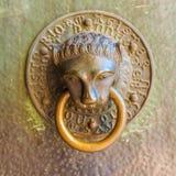 以一古铜色lion& x27的形式敲门人; s头 库存图片