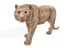 一只古铜色老虎的小雕象 库存照片