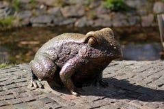 一只古铜色青蛙的雕象在中央公园 库存图片