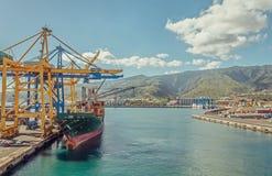 一只大集装箱船在口岸装载货物 免版税库存照片