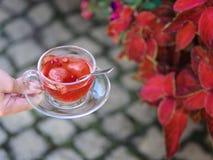 一只女孩` s手的一张顶视图有一个杯子的在自然本底的水果的茶 草莓Balsamico清凉茶 免版税库存图片