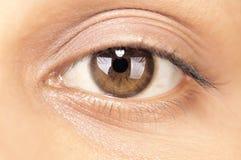 一只女性眼睛的特写镜头 免版税库存照片