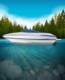 一只快艇在湖 向量例证
