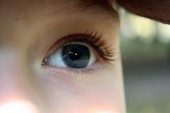 一只惊人的灰色蓝色男孩` s眼睛 免版税库存图片
