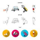 一只手套的手用棍子,高尔夫车,一个台车袋子用在袋子,锤击用棍子的一个人的棍子 高尔夫俱乐部集合 图库摄影