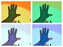 一只手照片在多颜色框架的 库存照片