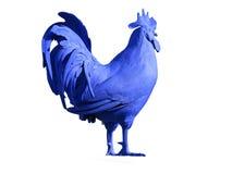 一只明亮地蓝色色的公鸡 库存图片
