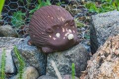 一只棕色猬的美丽的小的庭院雕象 库存图片