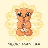 一只滑稽的红色信奉瑜伽者小猫在莲花姿势坐并且唱与题字和坛场的佛经 库存例证