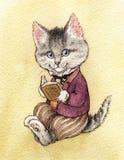 一只灰色镶边蓬松猫在夹克,长裤坐半转动 免版税库存图片