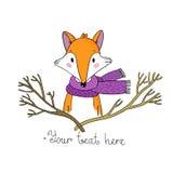 一只狐狸的画象在围巾和分支的 免版税库存图片