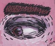 一只眼睛的图画在桃红色面孔的 库存图片