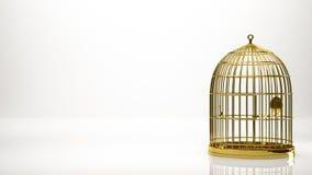 一只笼子的金黄3d翻译在演播室里面的 库存图片