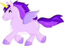 一只紫色独角兽的美好的例证,在颜色,儿童图书的理想 向量例证