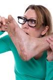 一只脚的肮脏的脚底 免版税库存照片