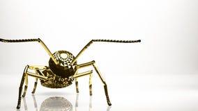 一只蚂蚁的金黄3d翻译在演播室里面的 免版税图库摄影