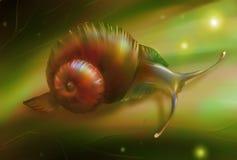 一只蜗牛的数字式艺术在叶子的 免版税图库摄影