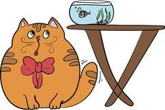 一只逗人喜爱的小猫的传染媒介例证设法抓鱼 免版税图库摄影