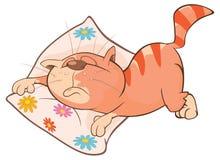 一只逗人喜爱的猫的例证 背景漫画人物厚颜无耻的逗人喜爱的狗愉快的题头查出微笑白色 免版税库存照片