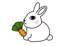 一只逗人喜爱的白色兔子爱吃红萝卜 库存例证