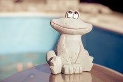 一只逗人喜爱的青蛙的小小雕象在一个空的游泳池的边缘的 秋天概念查出的白色 图库摄影