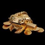 一只金黄风水青蛙的例证坐金钱 库存图片
